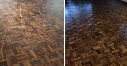 A before-and-after comparison of our restorative work on a wooden floor at a private residence
