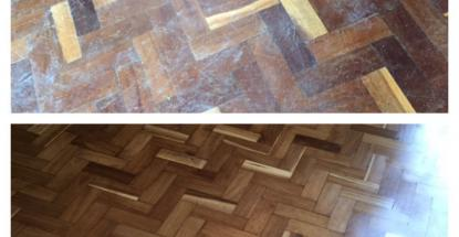 A before-and-after comparison of the wooden floor at Bulange, Mengo