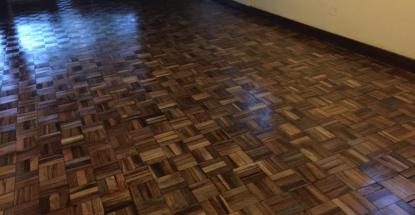 Restorative work on a wooden floor at a private residence