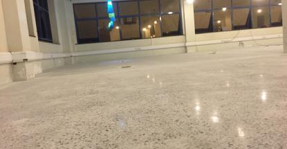 A finished and polished terrazzo floor at the Cheki offices
