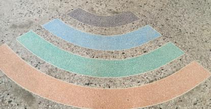 A light decorative use of coloured Terrazzo at the Cheki Offices